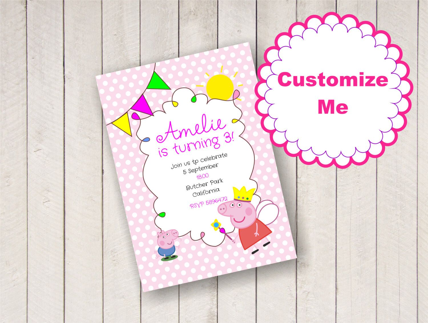 EDITABLE PEPPA PIG party invitation, personalized birthday ...