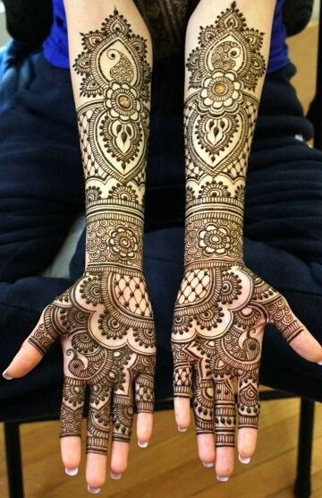Full Arm Mehndi : Neat and clean lines marys mehndi leave tips of fingers so