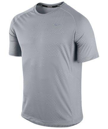 Herren Laufshirt Printed Miler S/S grau #nike #running #shirt