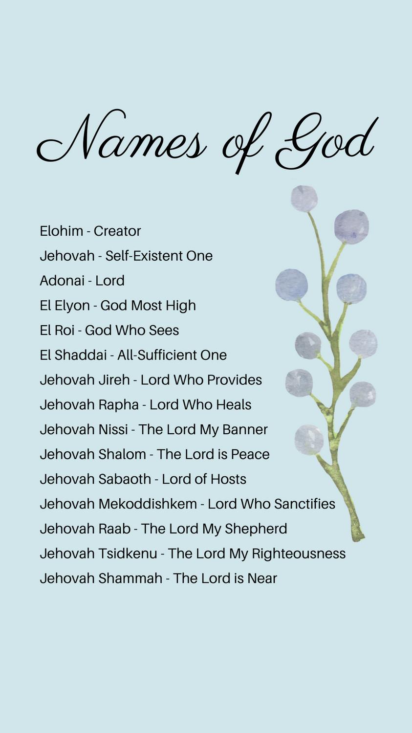 Names of God List (FREE Printable)