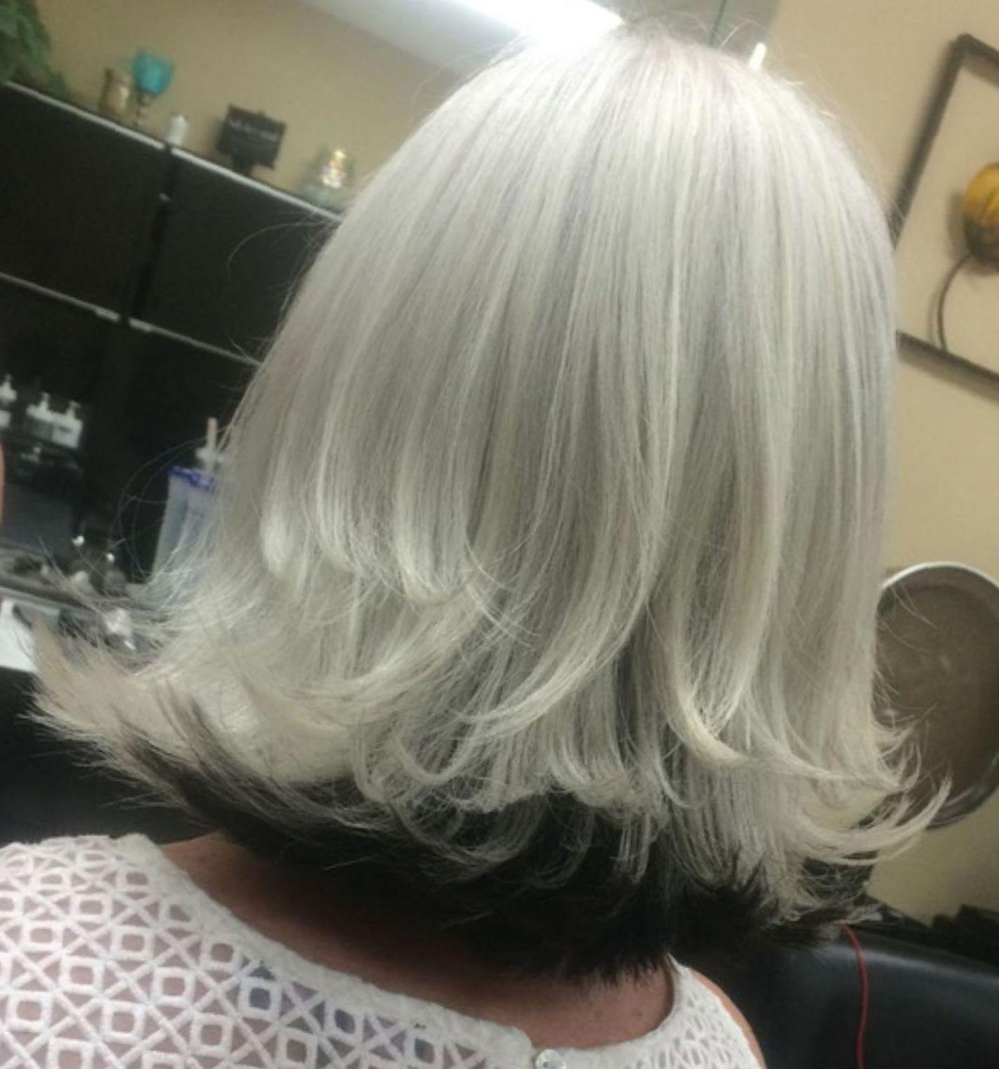 White Blonde Long Bob With Black Underlayer Hair Styles Gorgeous Gray Hair Silver Fox Hair