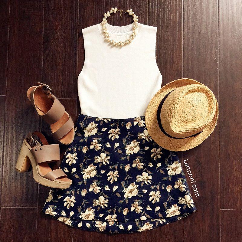 floral a line mini skirt clothing pinterest. Black Bedroom Furniture Sets. Home Design Ideas