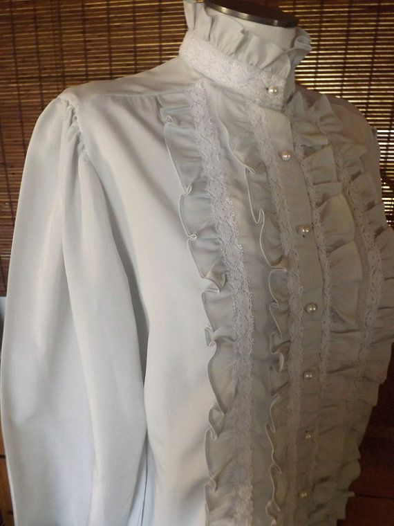 Vintage 80s Victorian Revival Gray Tuxedo Ruffle by Calliopegirl, $20.00