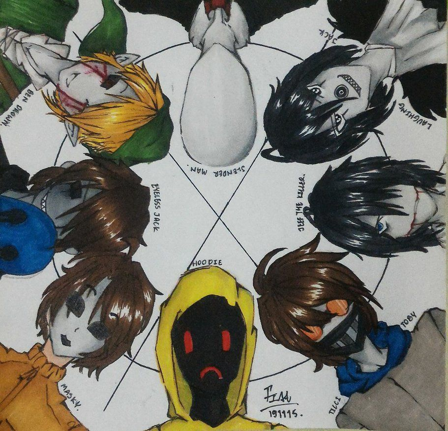 Jeff The Killer Slenderman Hoodie Masky Eyeless Jack Laughing Jack