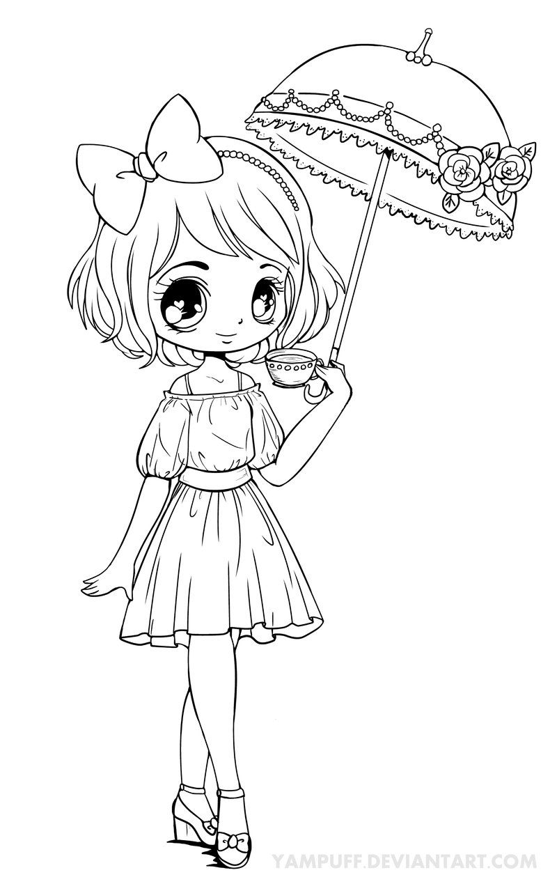 Chibi Coloring Pages Umbrellagirl Lineart By Yampuff On