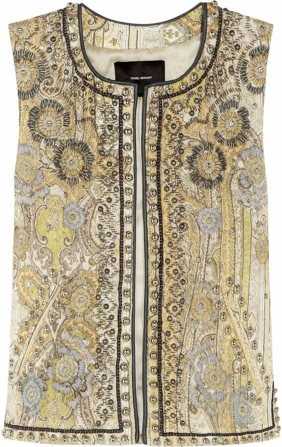 448b9b9530 Isabel Marant Jungle embellished cotton-blend vest on shopstyle.co ...
