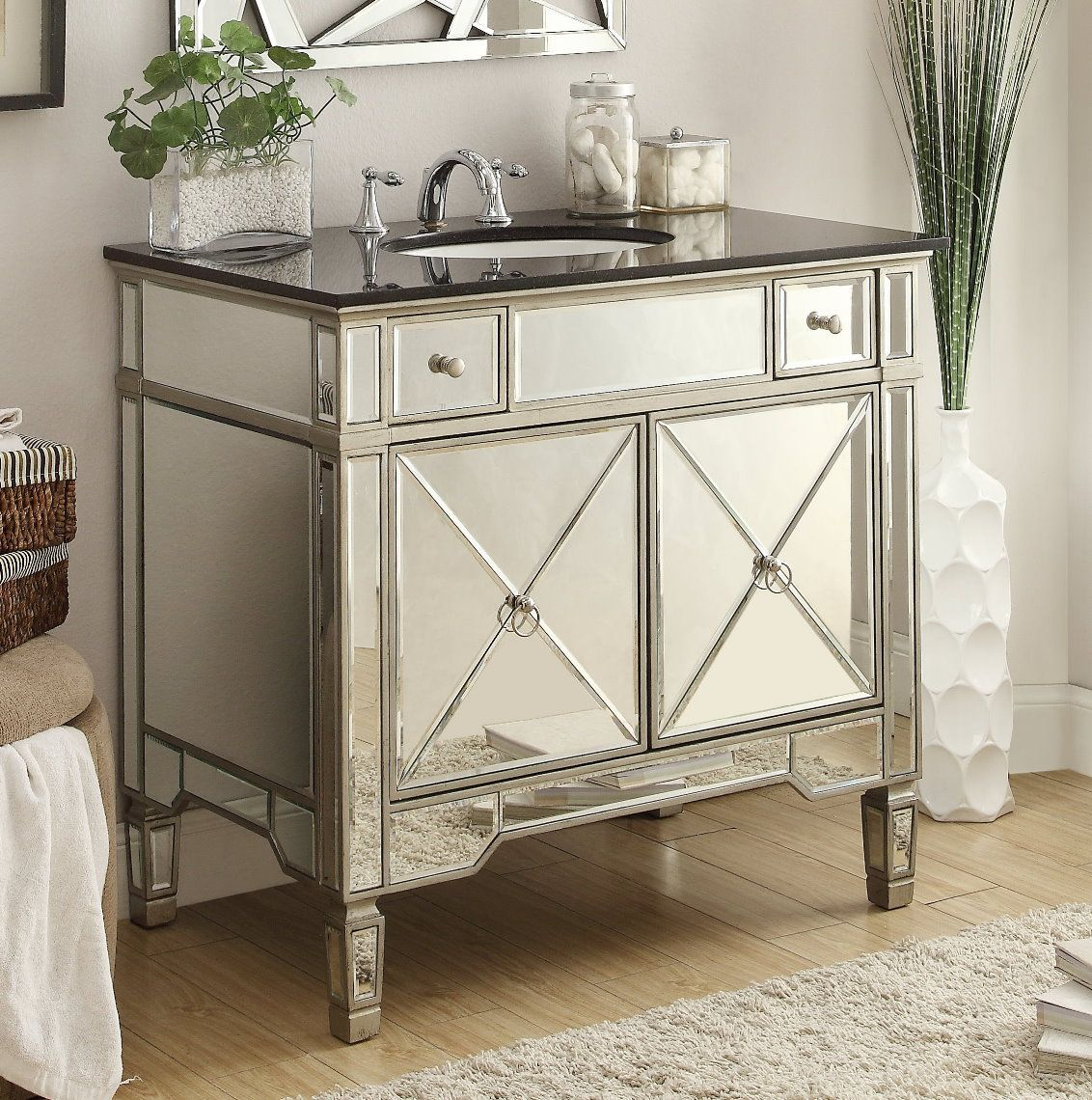 Photos On This Adelina inch Mirrored Silver Bathroom Vanity will add elegance and function to your bath