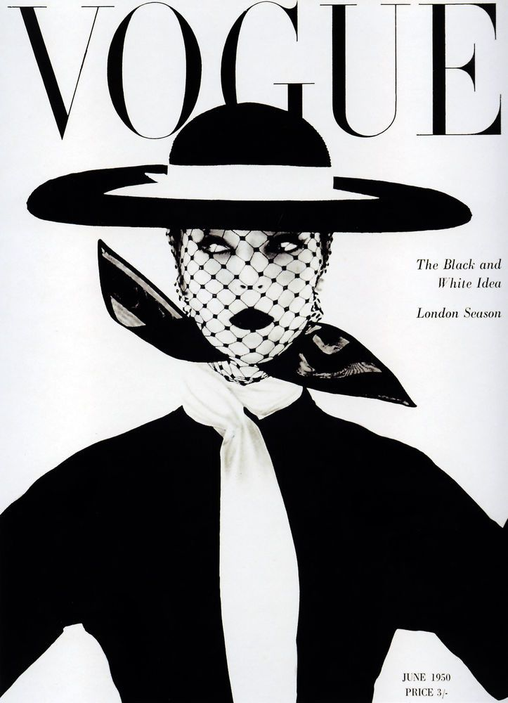 A1 size vogue cover model print vintage poster black white 1950