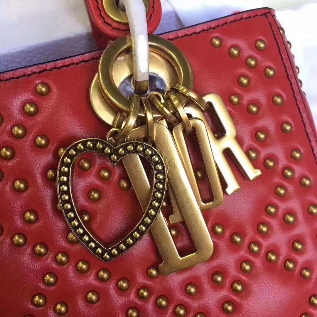 64497de0c7 Christian Dior SUPPLE LADY DIOR BAG IN STUDDED RED LAMBSKIN LIMITED EDITION  VALENTINE'S DAY 2018 - Bella Vita Moda