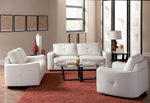 Jasmine Collection Sofa White Leather Super Soft Contemporary New Ebay White Living Room Set Living Room Sets Furniture