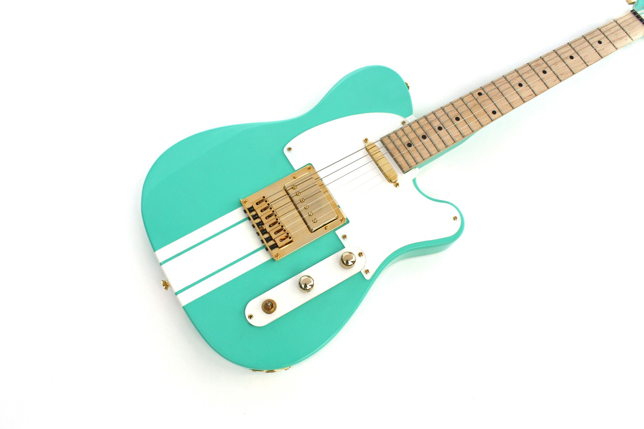 """Custom teal Dixie guitar for the band """"For the Foxes"""" crafted by Moniker Guitars. Design yours at  http://Monikerguitars.com"""