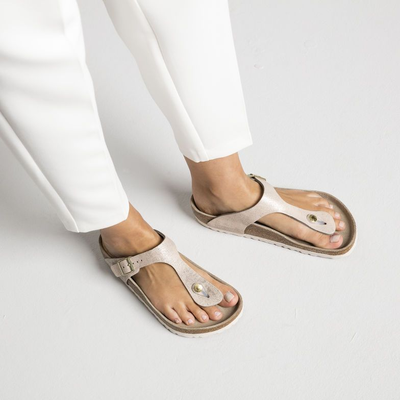 Gizeh Suede Leather Washed Metallic Rose Gold 39 Regular Suede Leather Birkenstock Toe Post Sandals