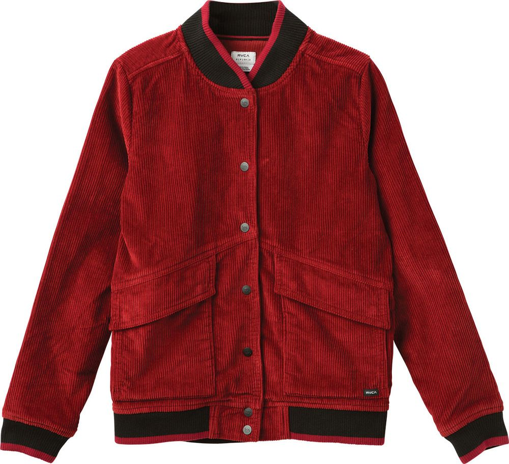 Freshman Corduroy Bomber Jacket Rvca Red Denim Jacket Jackets Coats Jackets [ 913 x 1000 Pixel ]