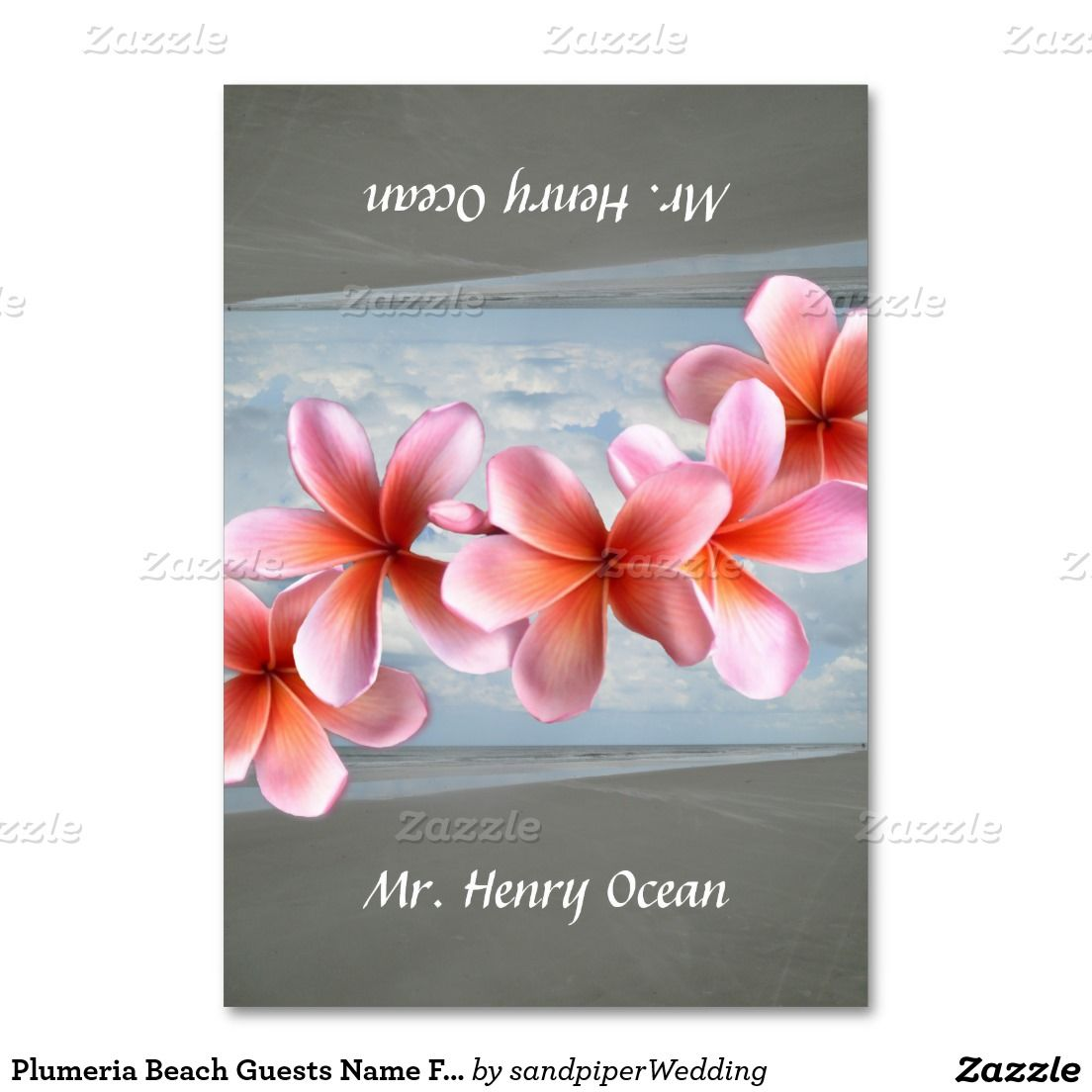 Beach wedding, tented place cards.  Pretty pink Hawaiian plumeria flowers and a scene from the beach will show on both sides once this custom card is folded in half.  Add each guest's name individually to personalize.