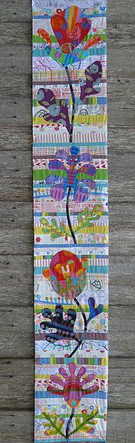 First panel of Kim McLean Flower Garden quilt using (mainly) Keiko Goke fabrics