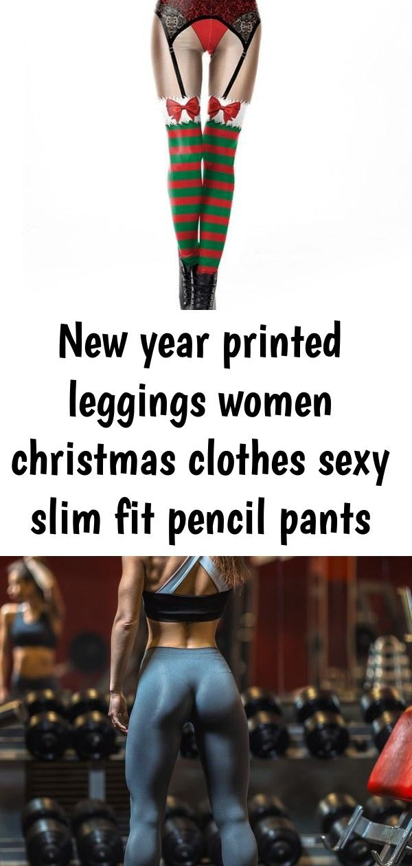 New year printed leggings women christmas clothes sexy slim fit pencil pants sport female fitness 3