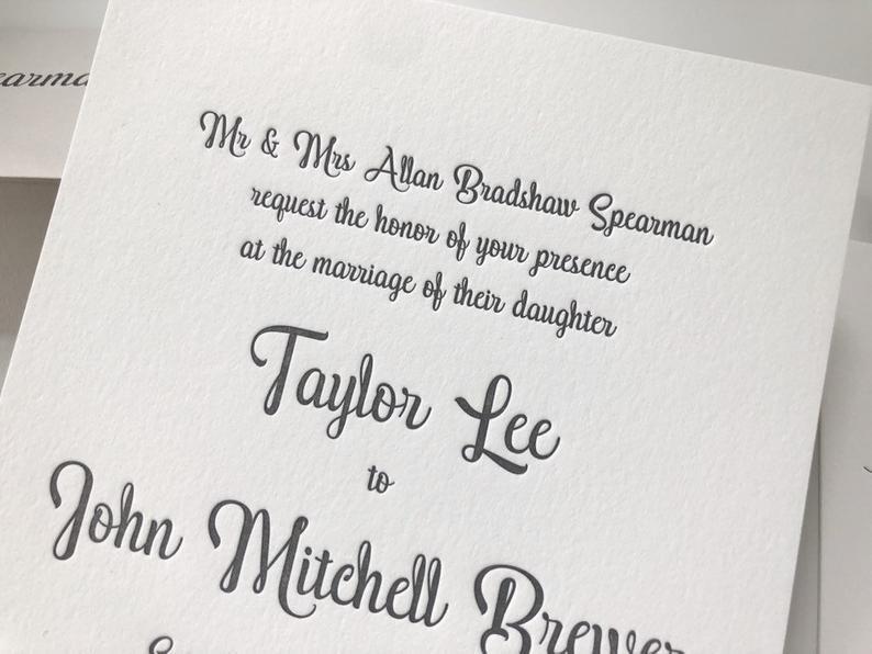 The Cleveland Suite Sample Letterpress Wedding Invitations