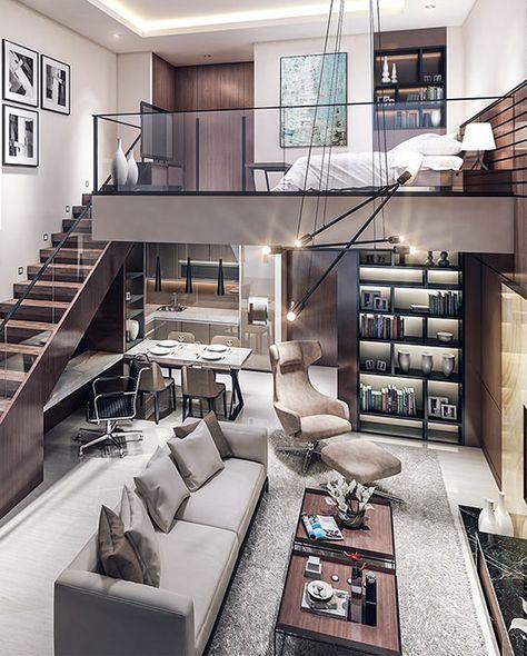 Offenes, modernes Interieur, neutrale Palette, gepolsterte Sitzmöbel, offene Treppe, Loft-Wohnen, Industriebeleuchtung, modernes Interieur, Loft-Stil, luxuriöses Interieur – Architecture Designs