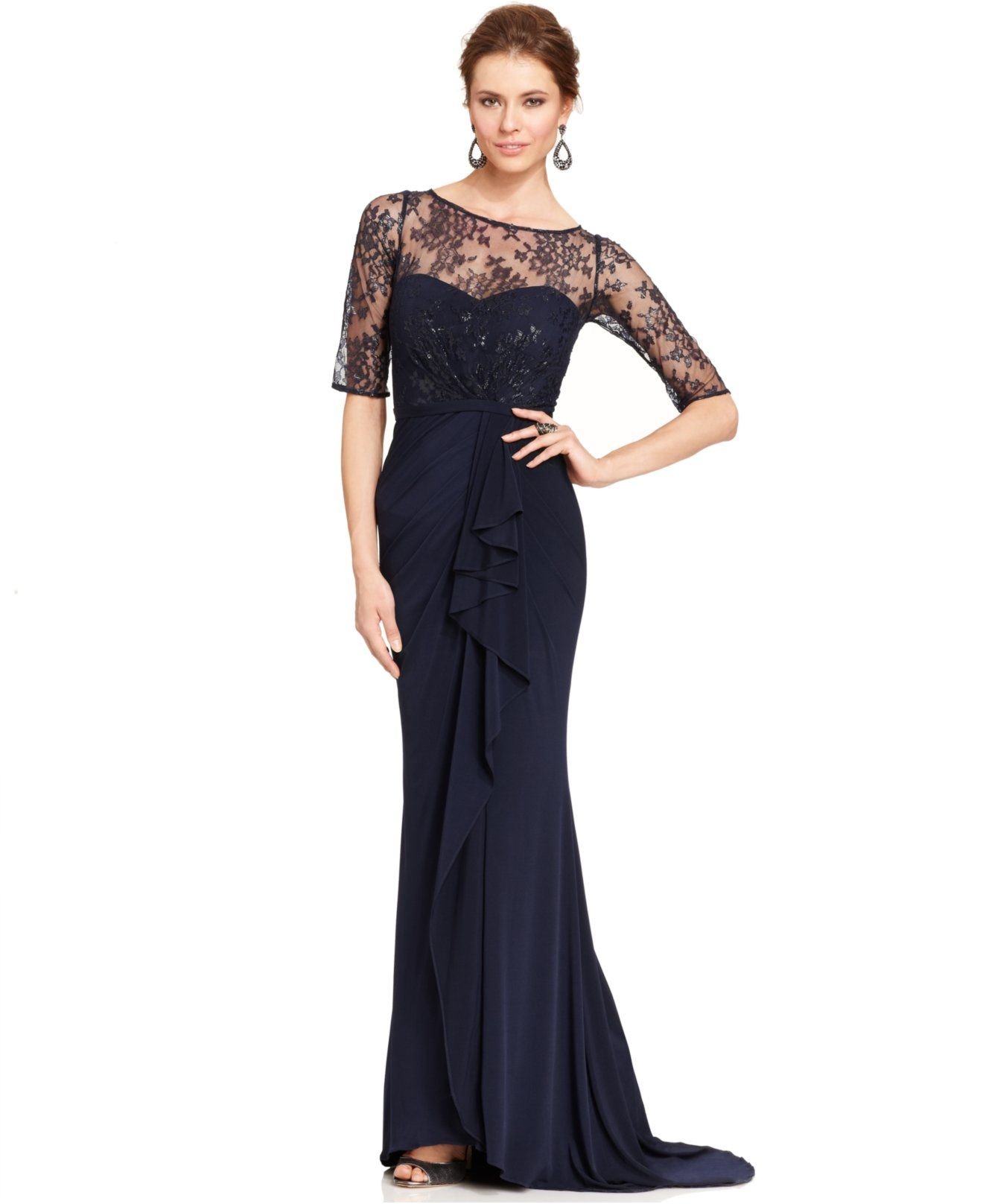 JS Boutique Illusion Lace Draped Gown - Mother of the Bride - Women ...