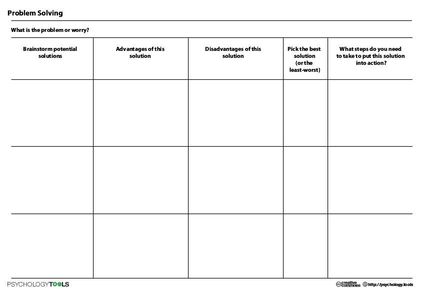 Problem Solving Tool Worksheet Counselling Worksheets