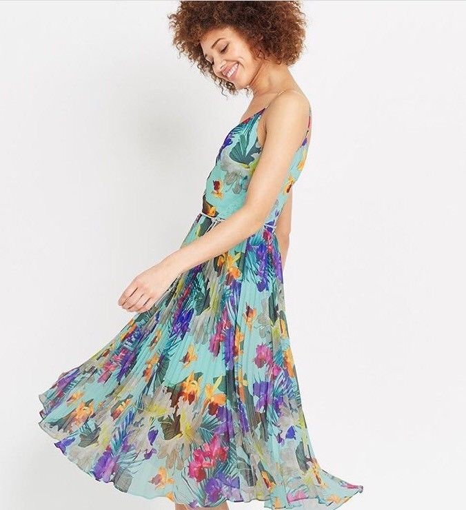 Oasis tropical pleated midi dress, size M 38EU 12UK  | eBay