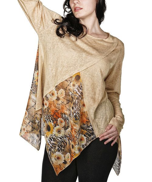 Look at this Camel Sheer Floral Handkerchief Top - Plus on #zulily today!