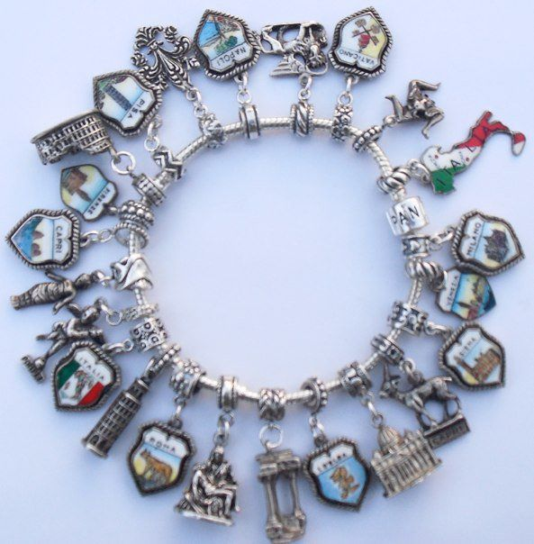 Definitely not-Pandora but still awesome: Vintage Silver Enamel Travel  Charm Bracelet. Unfortunately, if I had charms for every state I vacationed  at there ...