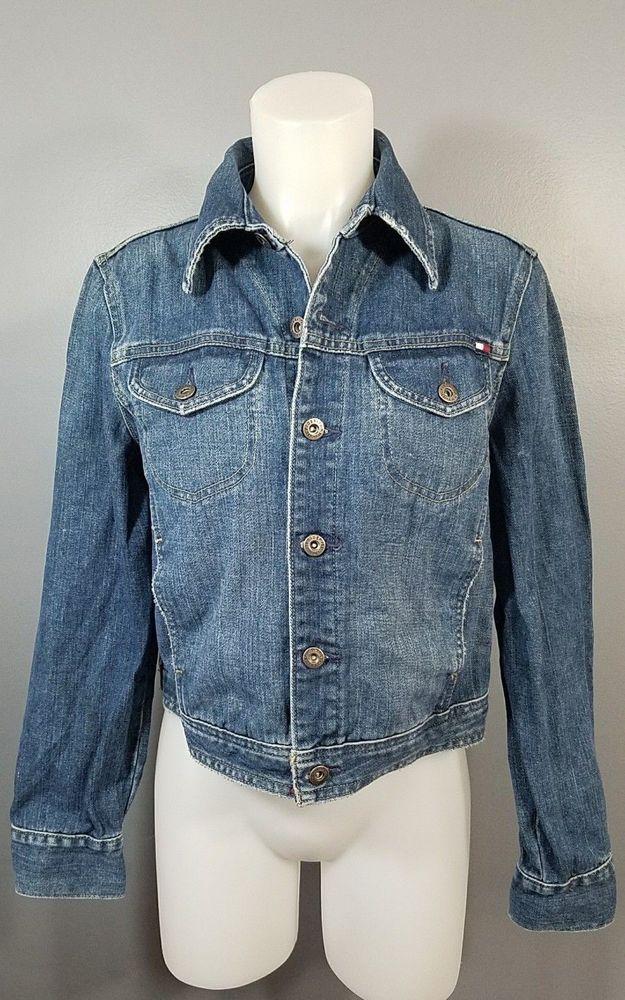 "Women's Large ""Tommy Jeans"" Hillfiger Denim Jacket Classic Style Trucker  #TommyHilfiger #JeanJacket #Casual"