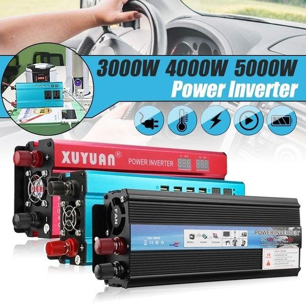 4000W Car Solar Power Inverter DC 12 24V to AC 220V Modified Sine Wave Converter