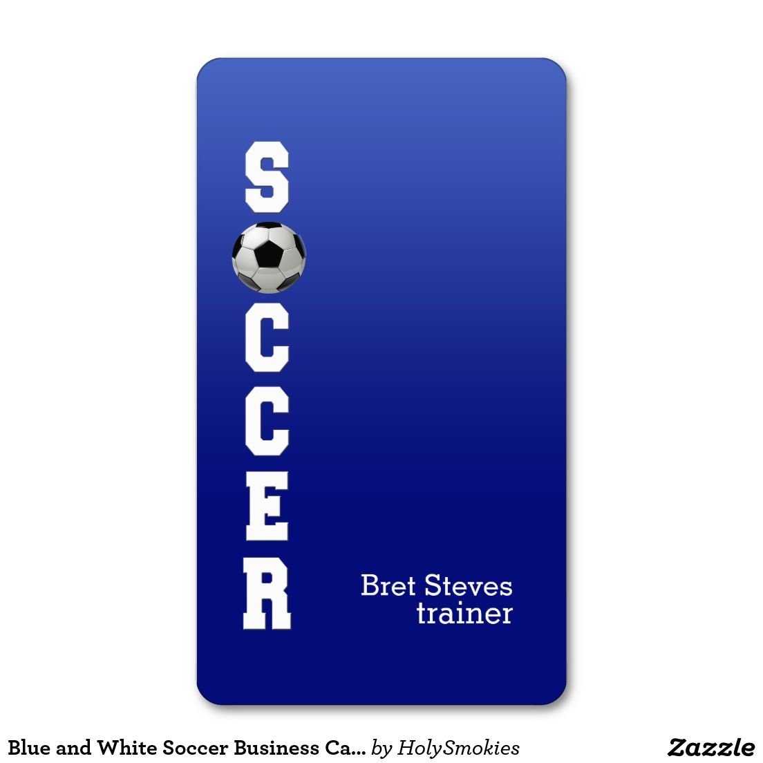 Blue and White Soccer Business Cards | Business cards, Business pens ...