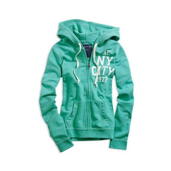 Women's AE NY CIty Zip-Up Hoodie (Sage Green) ($35) ❤ liked on Polyvore featuring tops, hoodies, jackets, sweaters, sweatshirts, outerwear, clothing & accessories, blue hooded sweatshirt, flat top and blue zip up hoodie