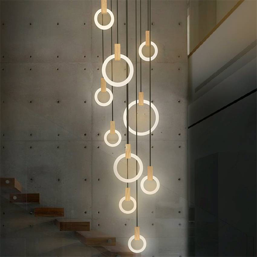 Nordic Led Chandelier Modern Living Room Pendant Lamps Bedroom Decor Fixtures Stair Lighting Loft Illumination Long Hanging Lamp Living Room Pendant Pendant Lamps Bedroom Hanging Pendant Lamp