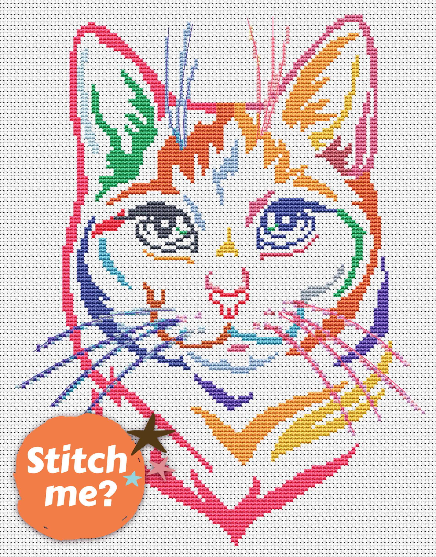 Cat cross stitch pattern Modern cross stitch Cat lover gift Valentines cross stitch Heart Pet cross stitch Animal counted cross stitch PDF