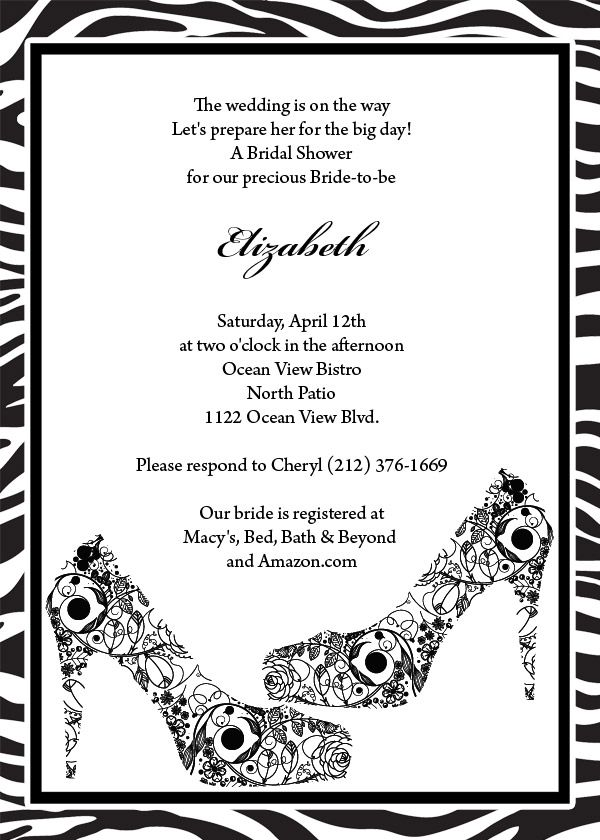 FREE Wedding PDF Download Black Shoes and Zebra Print Wedding - free bridal shower invitation templates printable