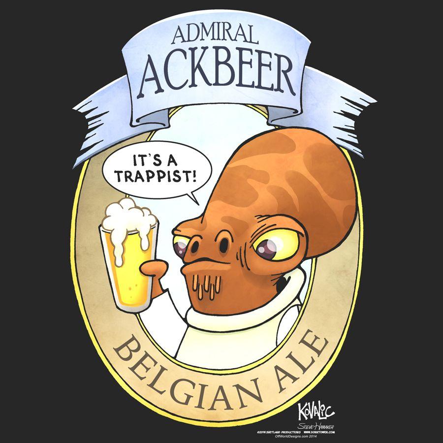 T-shirt Admiral Ackbeer It/'s A Trap Ackbar Beer Label OffWorld Designs