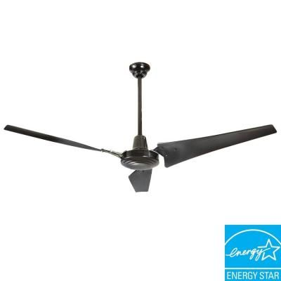 Hampton Bay Industrial 60 In Indoor Black Energy Star Ceiling Fan 26629 For The Home Star Ceiling Ceiling Fan Energy Star