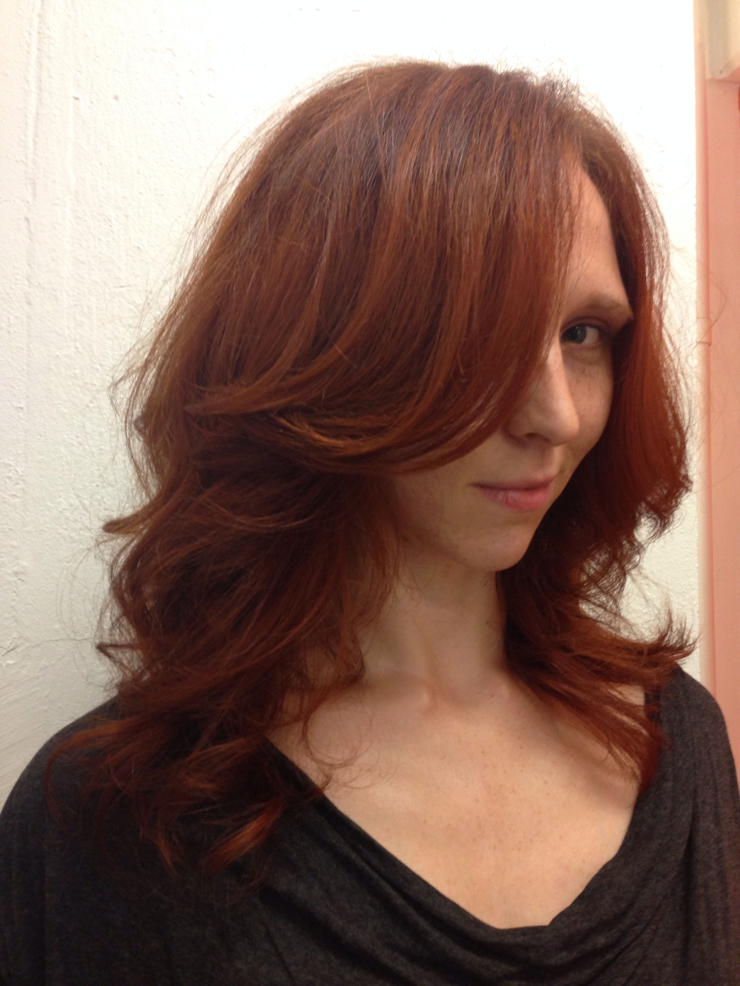 Long Layer With Side Swept Bangs Blow Out Curly Hair Big Wavy