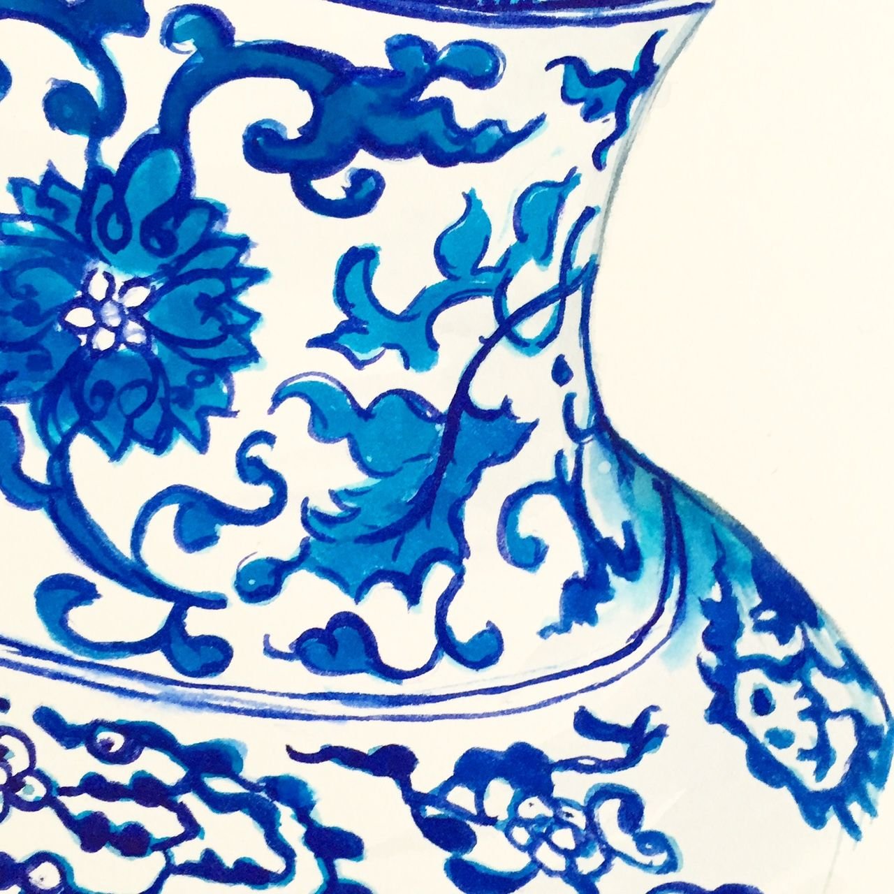Blue and white china watercolour painting by Tracey Fletcher King... I am so obsessed with painting blue and white and chinoiserie at the moment