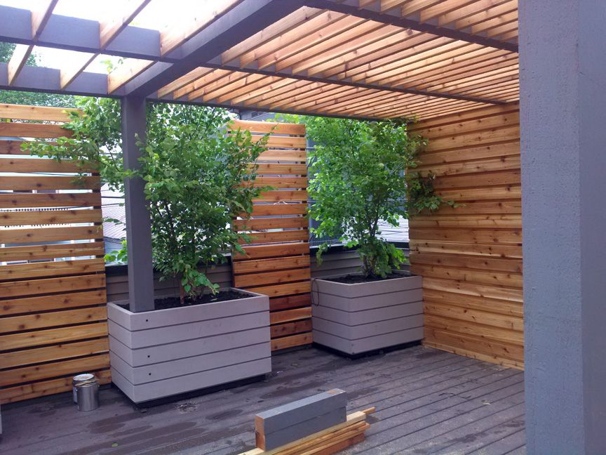 Pergola Cedar Oiled And Painted Privacy Screen Planters