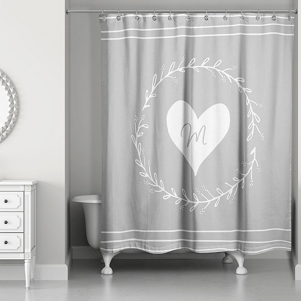 Designs Direct White Heart Wreath Curtain In Grey Bed Bath Beyond Designs Direct Curtains Bed Bath And Beyond