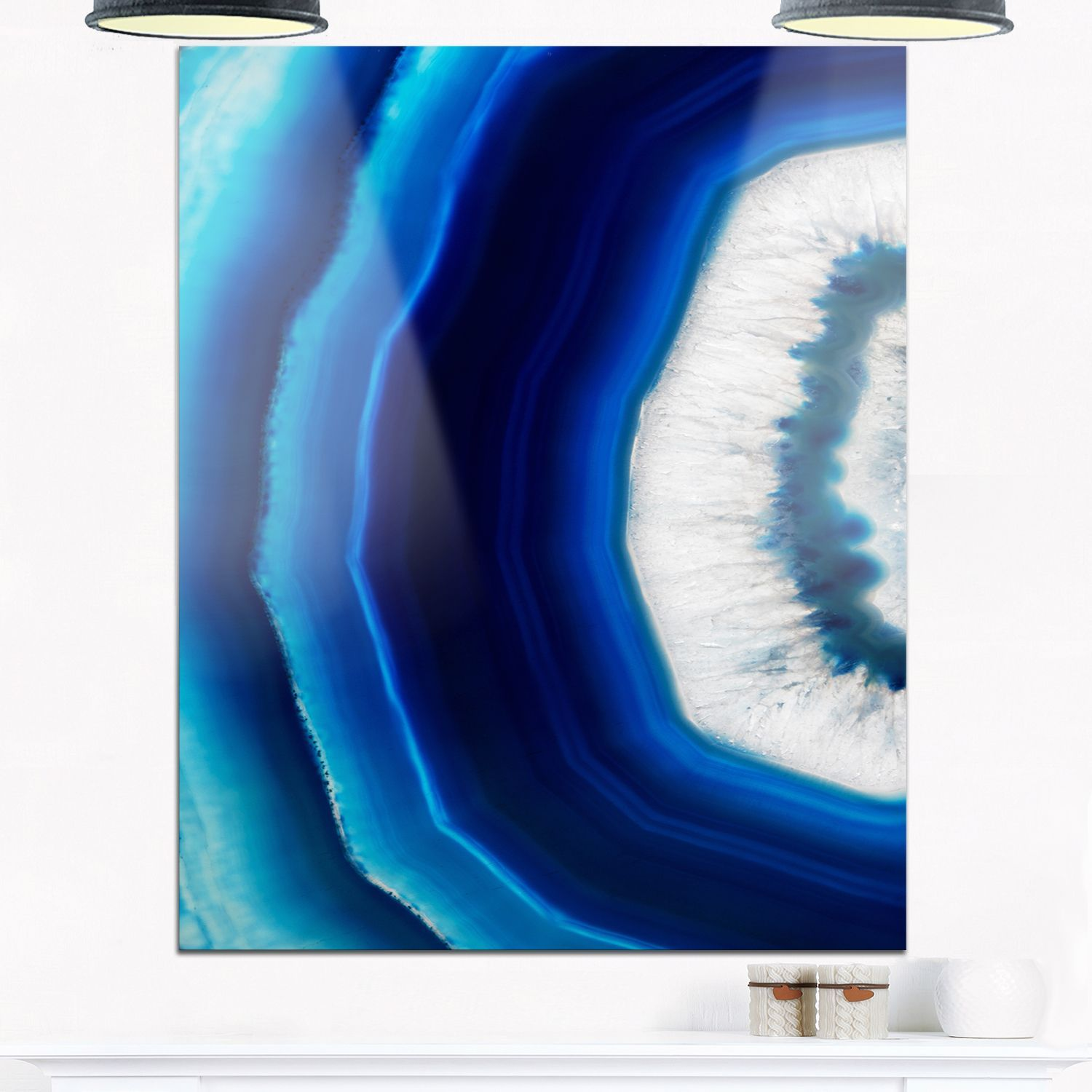 Agate crystal abstract digital art glossy metal wall art other