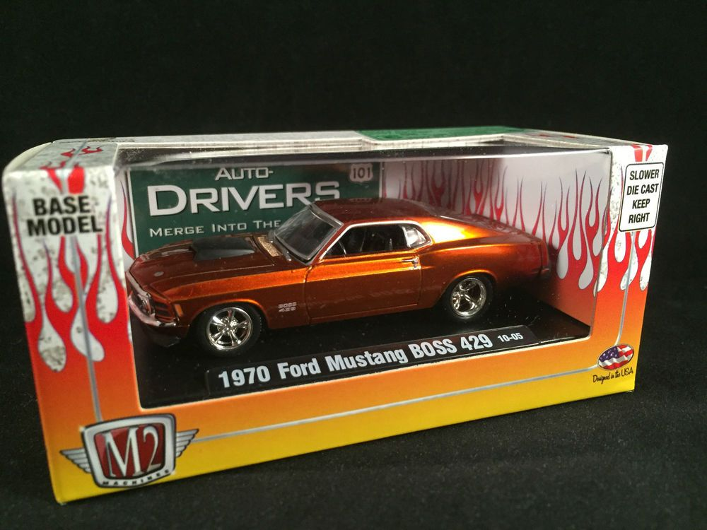 M2 Machines Auto Drivers 1970 Ford Mustang Boss 429 Orange 1 64 10 05 Sealed Diecast Cars Ford Mustang Boss Ford Mustang