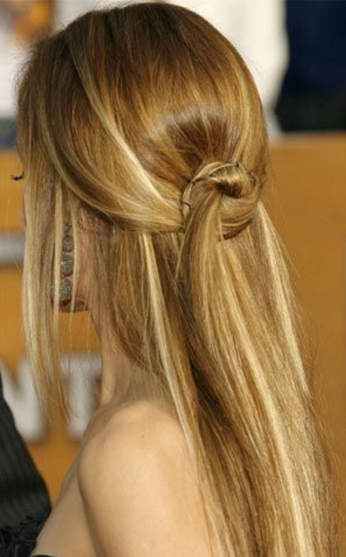 Knotted Half Up Half Down Hair Styles Long Straight Hair Homecoming Hairstyles