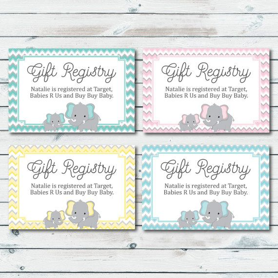 Personalized Item Baby Shower Gift Registry Inserts In Pink And Grey Elephant Mint And Grey Elep Baby Shower Gift Registry Baby Registry Cards Registry Cards