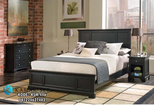 Tempat Tidur Minimalis Kasur Quenn Black Doff Model Ranjang Motif Profil Simple