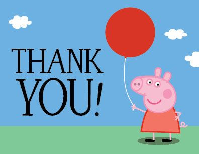 Peppa Pig Birthday Party Thank You Card Peppa Pig Party