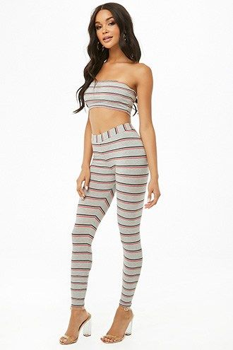 Striped Tube Top & Leggings Set #tubetopoutfits