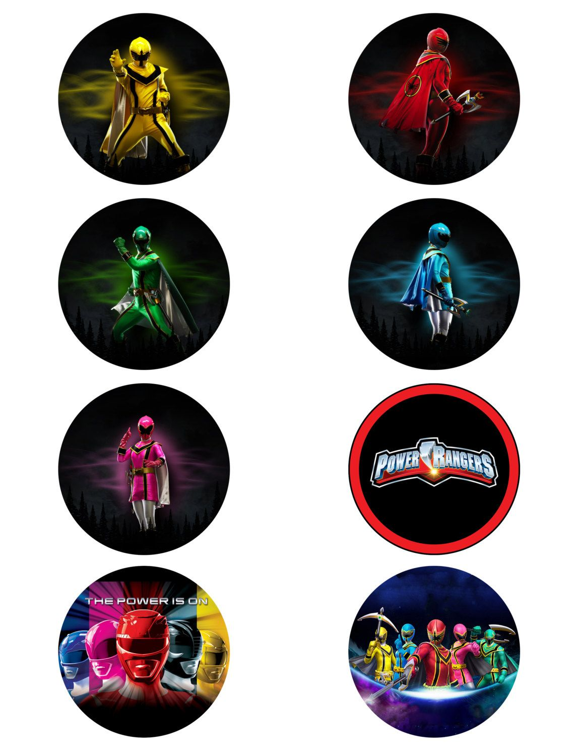Power Rangers Printable Cupcake Toppers or Stickers   The Power Is On    4 00  via. Power Rangers Printable Cupcake Toppers or Stickers   The Power Is