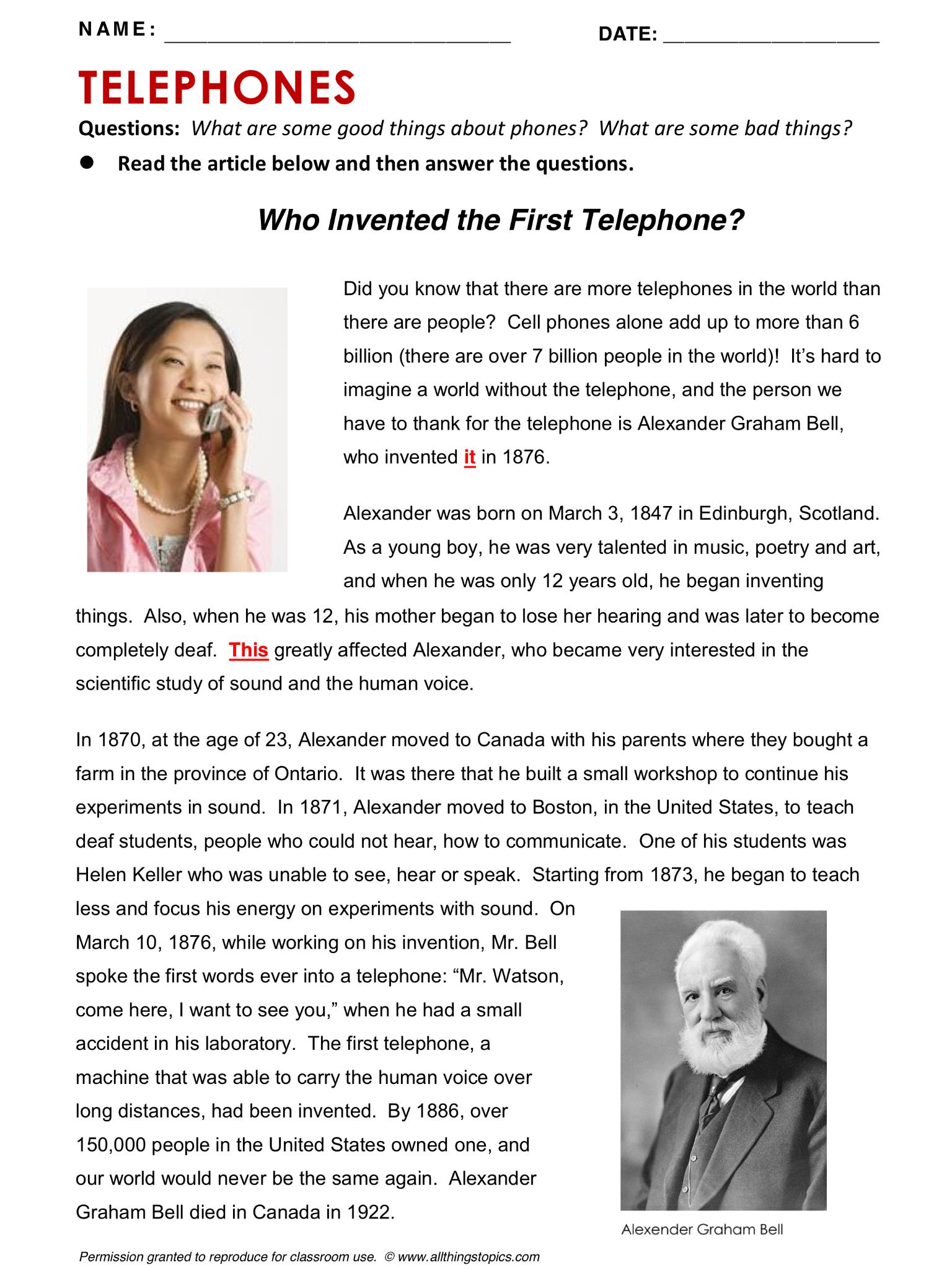 Telephone Phone English Learning English Vocabulary Esl English Phrases Http Www A English Reading Reading Comprehension Reading Comprehension Lessons [ 2048 x 1536 Pixel ]