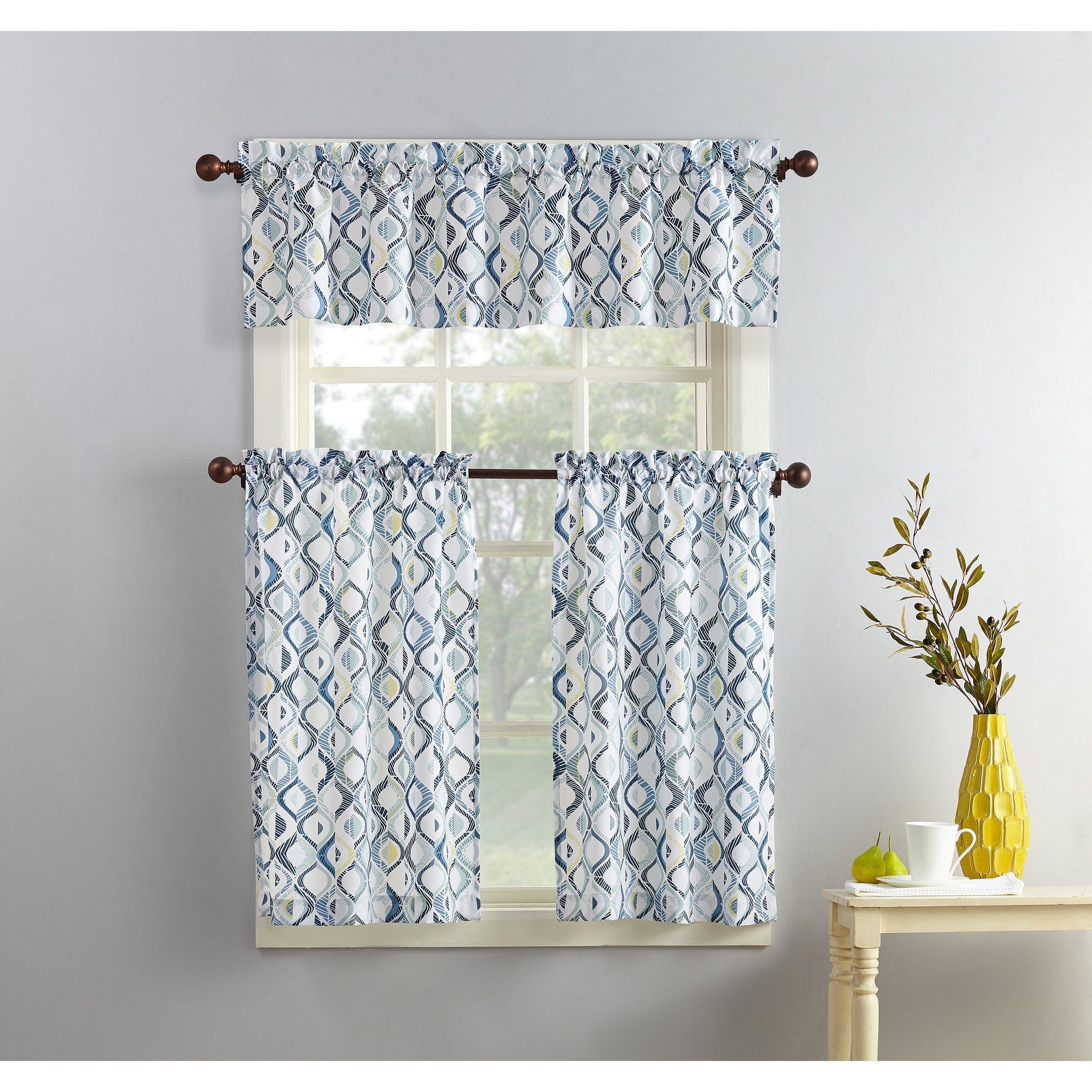 No 918 Geometric Print Microfiber 3 Piece Kitchen Curtain Valance